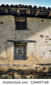 """Vintage window, at """"Caserío"""", typical wooden house of the Basque country, at rural landscape in Spain"""