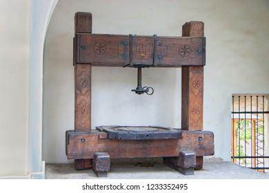 Vintage wine press in Mikulov Castle in the town of Mikulov in South Moravia, Czech Republic