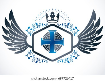 Vintage winged emblem created in heraldic design and composed using religious cross and monarch crown.