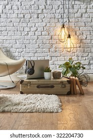 vintage winter with modern interior style and white chair