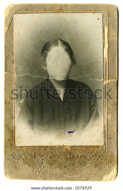 Vintage woman`s photo on white background.  Faces cloned out. You can use the frame or add your own face.