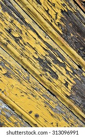 Vintage wood background with yellow paint