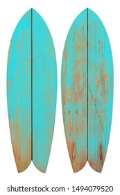 Vintage wood fish board surfboard isolated on white with clipping path for object, retro styles.