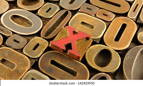 Vintage wood letter press x marks the spot concept