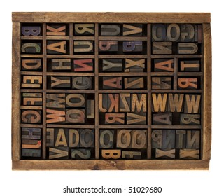 vintage wood letterpress types, stained by ink, placed randomly in typesetter drawer, isolated on white