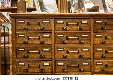 Vintage wood library card catalog