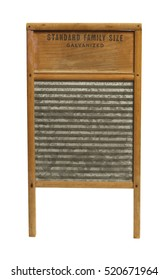 Vintage Wood and Metal Washboard Isolated on White Background.