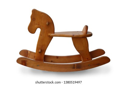 Vintage wood toy rocking horse chair children isolated on white background,  clipping path.