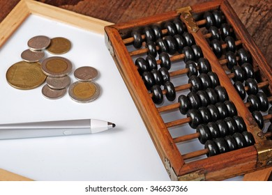 vintage wooden abacus with pen on the whiteboard