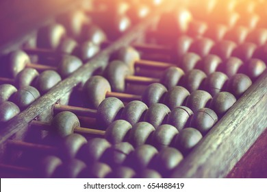 vintage wooden abacus used for calculating.