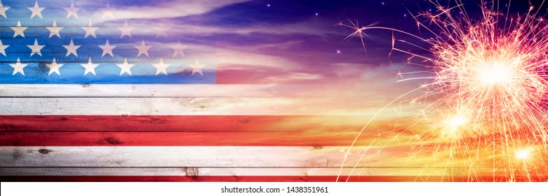 Vintage Wooden American Flag Fading Into Sunset Sky With Sparklers - Independence Day Concept