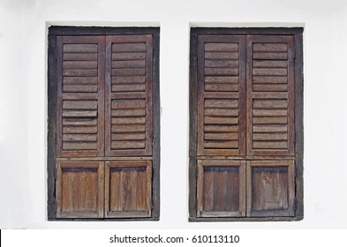 vintage wooden Asian windows on the white wall background