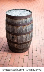 Vintage Wooden Barrel Used to Decorate the Patio. Preserved Antique in Saint Augustine, Florida.