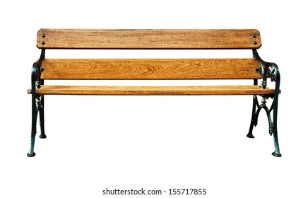vintage wooden bench isolated on white background
