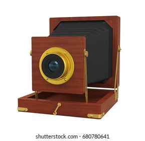 Vintage Wooden Camera Isolated. 3D rendering