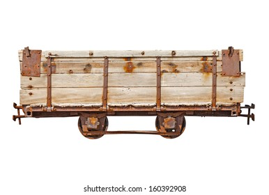Vintage wooden car for the narrow-gauge railway isolated on white background