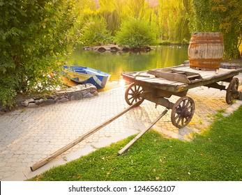 vintage wooden cart with barrel