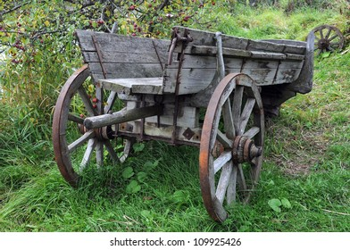 Vintage wooden cart in the countryside in Central Russia