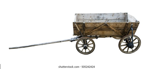 Vintage wooden cart isolated on white. Path included.