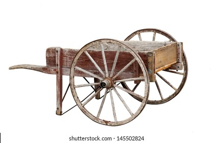 vintage wooden cart on a white background