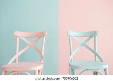 Vintage wooden chair Painted on Two Tone background