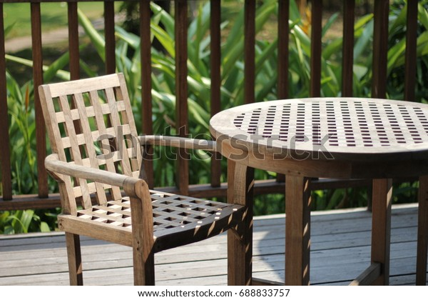 Awesome Vintage Wooden Chair Table Garden Stock Photo Edit Now Machost Co Dining Chair Design Ideas Machostcouk