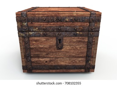 Vintage wooden chest 3d illustration