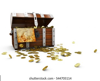 vintage wooden chest with golden coin 3D illustration isolated on white background