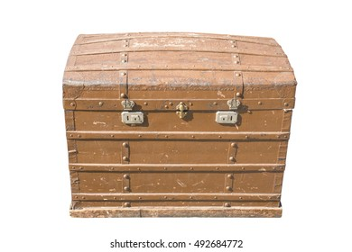Vintage wooden chest isolated on white background.