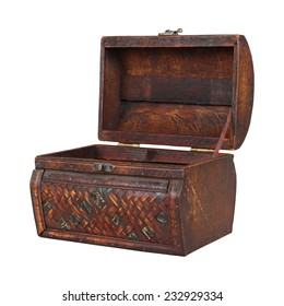 Vintage wooden chest with open lid isolated with clipping path included