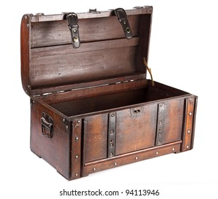 vintage wooden chest over white