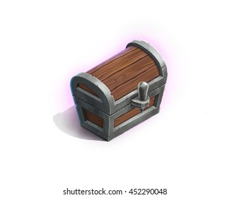 Vintage wooden chest with pink luminosity isolated on white background. Digital drawing. Game interface item.