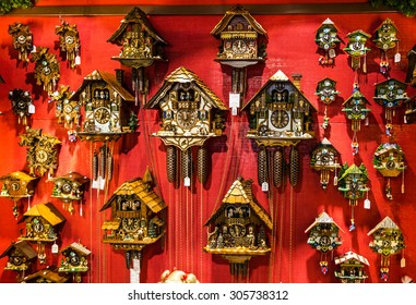 Vintage wooden cuckoo clocks in shop, Munich, Germany
