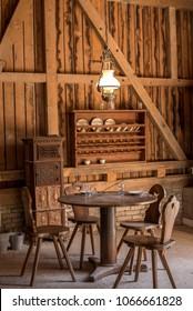 Vintage wooden dining room