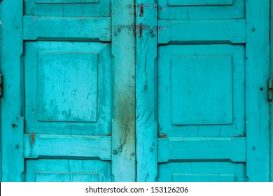 vintage wooden door,colonial old building style at Nong Khai, Thailand.