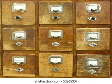 Vintage wooden drawer with blank labels