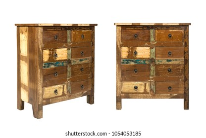 Vintage wooden drawers cabinet isolated on white background