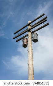 Vintage wooden electric power pole
