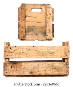 Vintage Wooden Empty crate isolated on White Background. Different variations of Fruit Tray