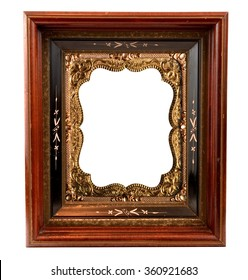 Vintage wooden Frame with old ornate Daguerreotype gold metal insert