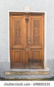 Vintage wooden front door, Regensburg, Germany