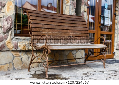 Terrific Vintage Wooden Garden Bench Metal Swirls Stock Photo Edit Caraccident5 Cool Chair Designs And Ideas Caraccident5Info