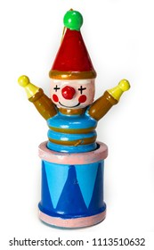 Vintage wooden Jack in the Box Clown Christmas ornament. Perfect as a stand alone photo or for composite