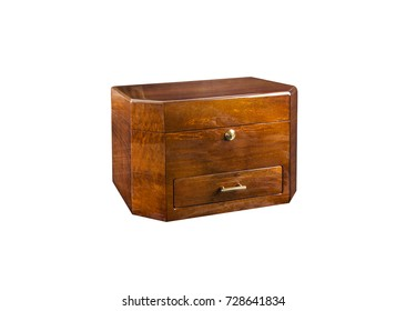 Vintage wooden jewellery box with multiple drawersisolated on white background