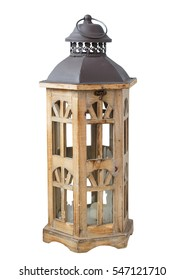 Vintage wooden lantern isolated on white