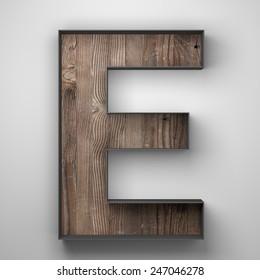 Vintage wooden letter e with metal frame