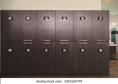 Vintage wooden locker room or dressing room in gym