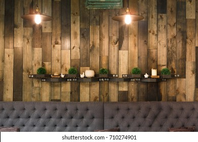 Vintage wooden loft interior of restaurant. Cozy dining place, contemporary design background