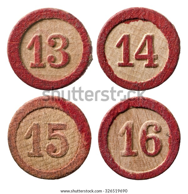 Vintage Wooden Lotto Numbers 13 14 Stock Photo (Edit Now