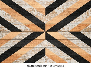 Vintage wooden panel with abstract pattern made of painted boards.